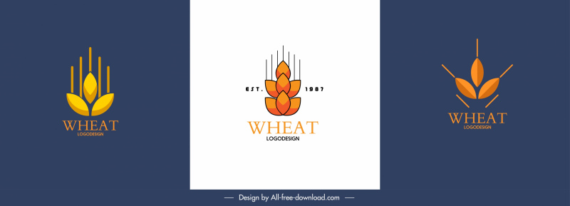 wheat logotypes flat classic shapes sketch
