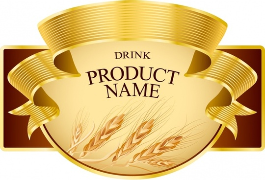 product label template elegant 3d ribbon wheat sketch
