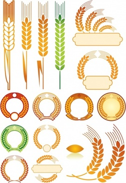 decorative wheat icons colored flat shapes sketch