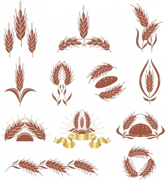 wheat logotypes colored classic shapes sketch