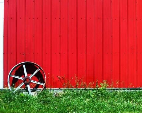 wheel red hut