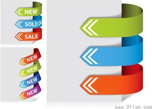 directional arrows templates colorful 3d curved design