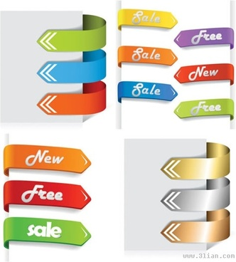 sale tags templates modern colorful 3d arrow shapes
