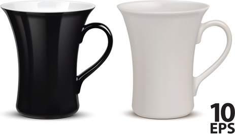 white and black tea cup vector