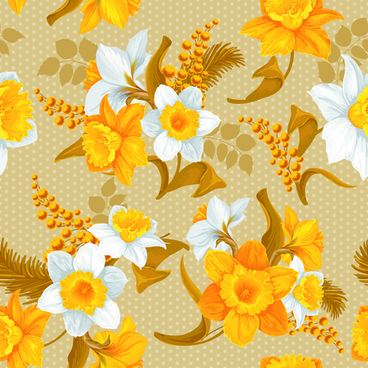 white and yellow flowers vector seamless pattern