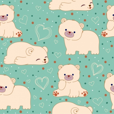 white bears background cute icons repeating design