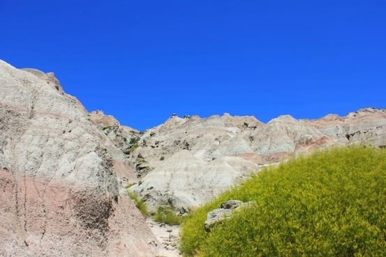 white buttes and hills at badlands national park south dakota