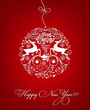 white christmas ball on red background vector illustration