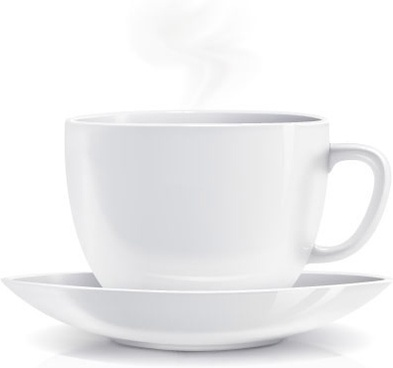 white coffee cup realistic vector