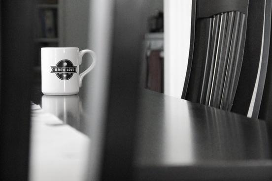 white coffee mug with brew love design