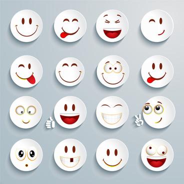 white cricle emoticon set