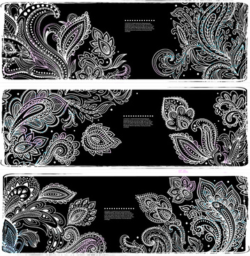 white floral ornaments banner vector