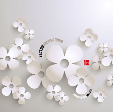 white flowers vector graphics