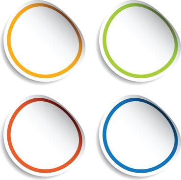 white frames stickers design vector