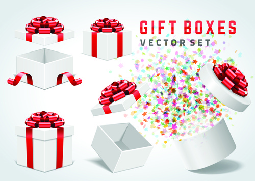 white gift box with red bow vector