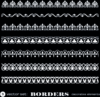 white lace borders design vector set