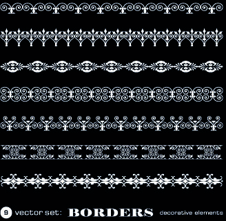 white lace borders vector set