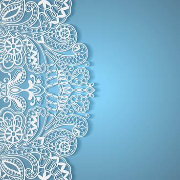 white lace with colored background vector set