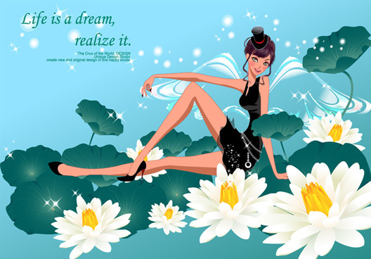 white lotus in the fairy vector