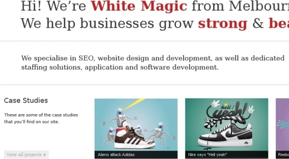 White Magic Homepage Design
