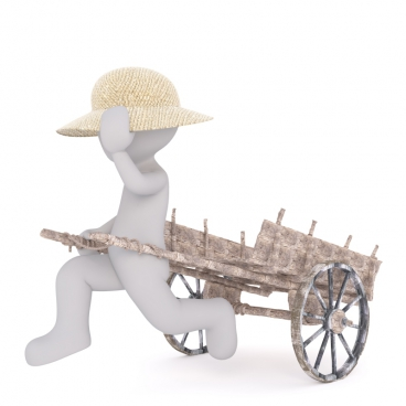 3d outline of man pulling cart