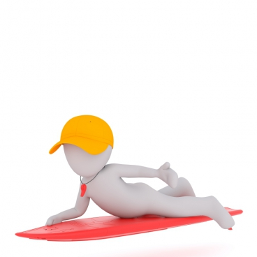 3d white model of water surfing instructor