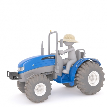 3d model of man driving agricultural car