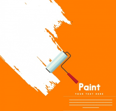 white paint background rolling tool icon decoration