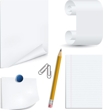 white paper clip and pencil clip art