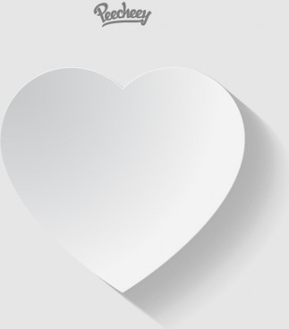 white paper heart with the long shadow