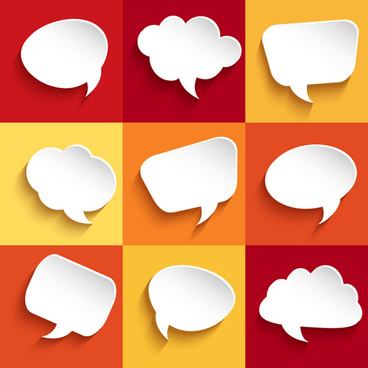 white paper speech bubbles vector