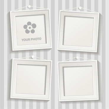 white photo frame set vector