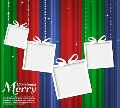 white photo frame with christmas background vector