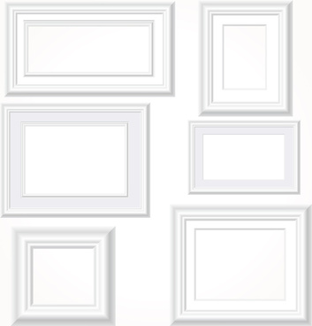 white photo frames vector set