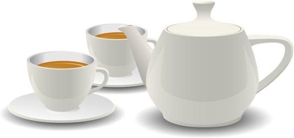 white porcelain tea set vector