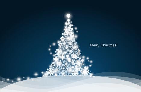 white snowflake christmas tree vectors