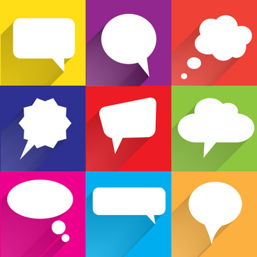 white speech bubbles with colorful backgrounds and shadows in flat designs