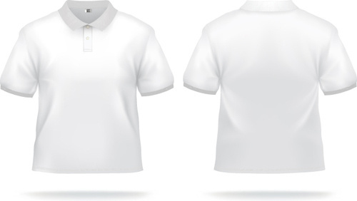 white t shirts template vector set