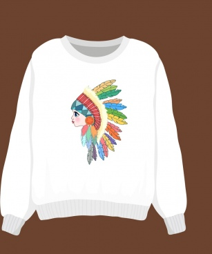 white template pullover tribal person icon decoration