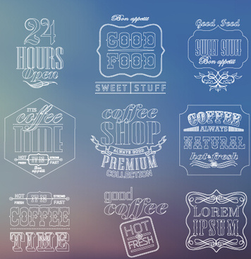 white thin line labels vintage style vector