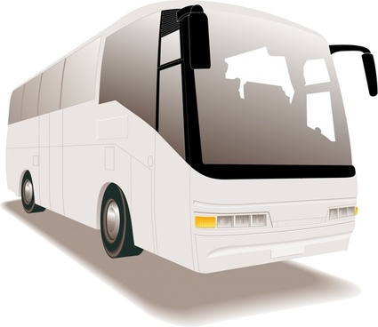 white tour bus realistic vector illustration