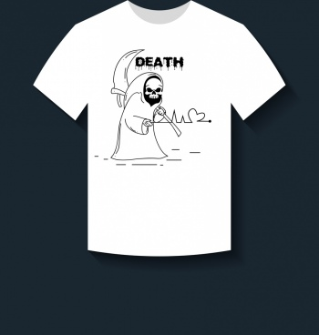 white tshirt design death icon ornament handdrawn style