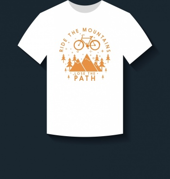 white tshirt design mountain bike icons decoration