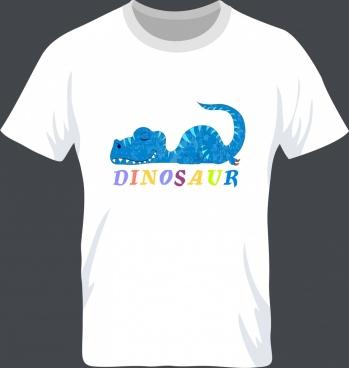 white tshirt template dinosaur icon decoration