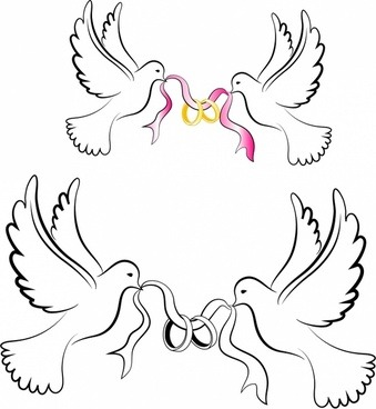White Wedding Doves with Rings