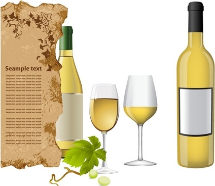 white wine bottle and glasses vector