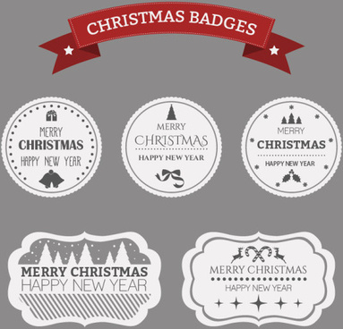 white with black christmas badges and labels vector