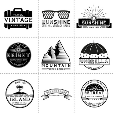 white with black travel vintage labels vector