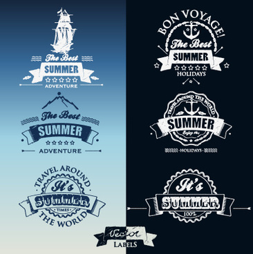 white with dark blue summer travel labels vector