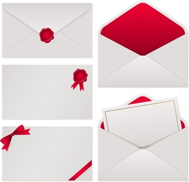 white with red envelope vector